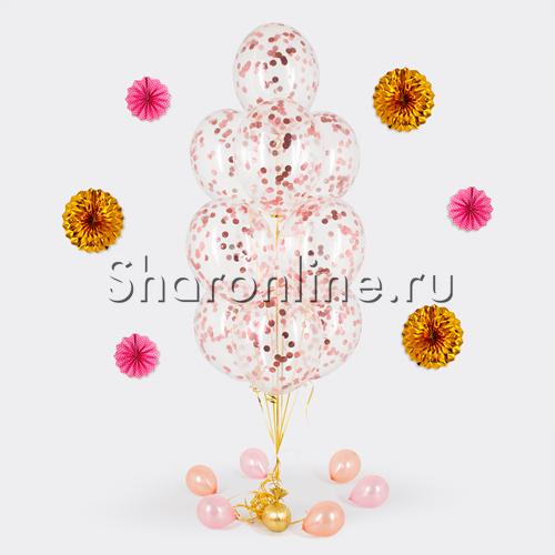 """Фото №1: Фонтан из шаров с конфетти """"Розовое золото"""""""