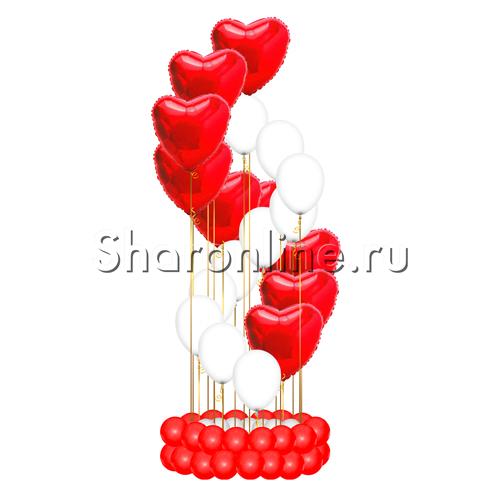 """Фото №1: Фонтан из шаров """"Спираль с сердечками"""""""