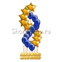"""Фото №1: Фонтан из шаров """"Спираль со звёздами"""" золото"""