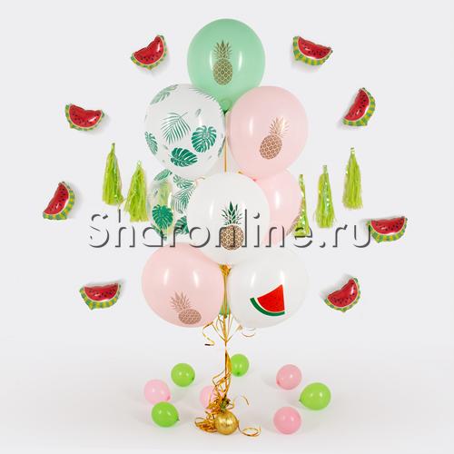 """Фото №1: Фонтан из шаров """"Тропический микс"""""""