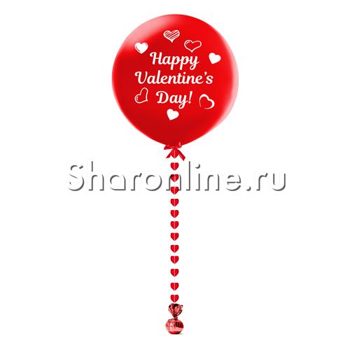 """Фото №1: Гигантский шар красный с подвеской """"Happy Valentine`s Day !"""""""