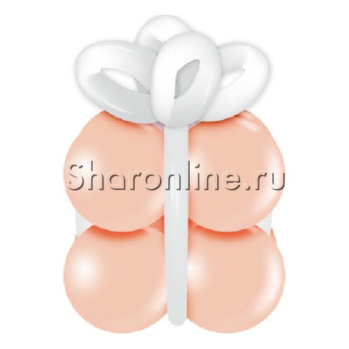 """Фото №1: Грузик в виде подарка """"Персиковый с белым"""""""