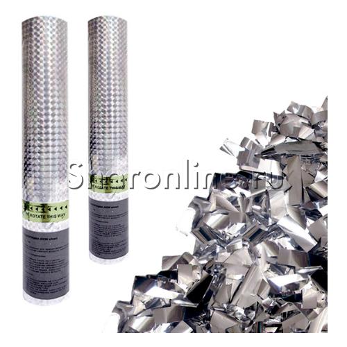 """Фото №1: Хлопушка """"Серебряное конфетти"""" 30 см"""