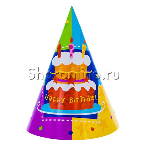 """Фото №1: Колпак """"Торт Birthday"""" 6 шт"""