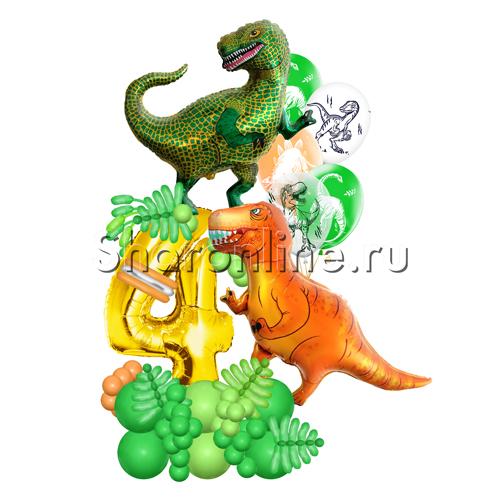 """Фото №2: Композиция из шаров """"Динозавры"""" с цифрой"""