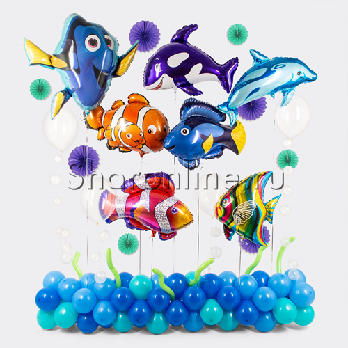 """Фото №1: Композиция из шаров """"Подводный мир"""""""