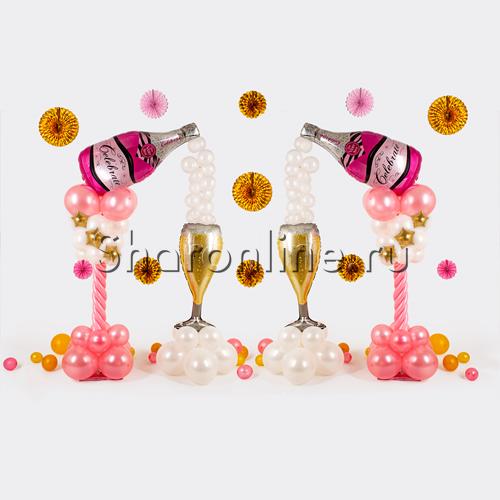 """Фото №1: Композиция из шаров """"Розовое шампанское"""""""