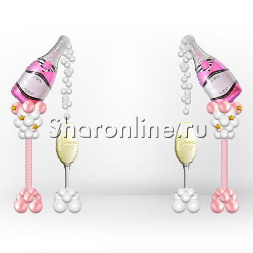 """Фото №2: Композиция из шаров """"Розовое шампанское"""""""