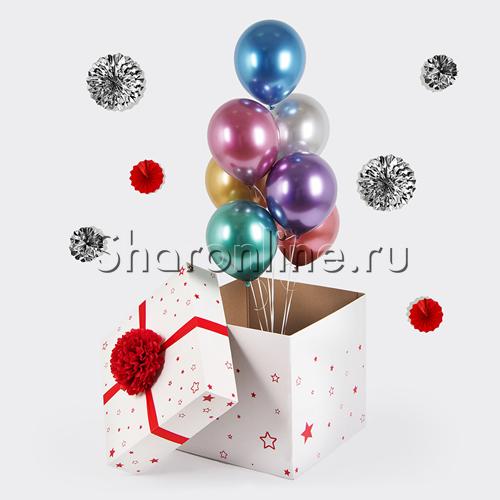 Фото №1: Коробка-сюрприз с шарами хром ассорти