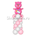 Фото №1: Медвежонок розовый на столбике