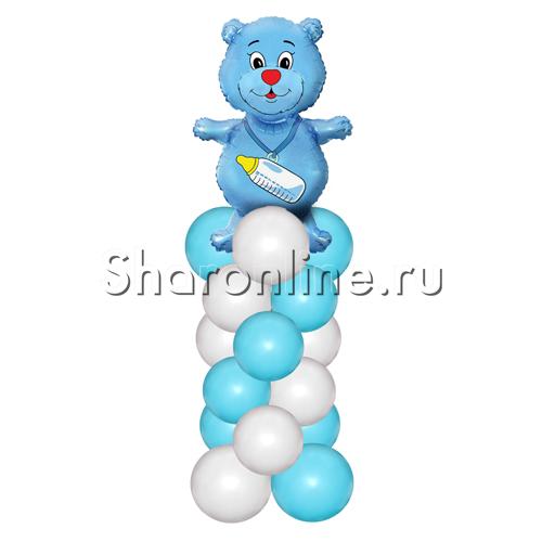 Фото №1: Медвежонок синий на столбике