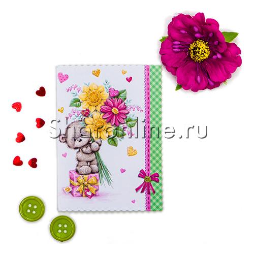 """Фото №1: Мини-Открытка """"Мишка с цветами"""" 60x85 мм"""