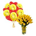 """Фото №1: Набор цветов и шаров """"Весеннее настроение"""""""