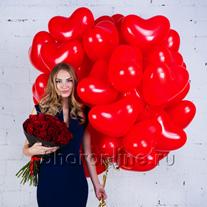 """Набор """"Сердечки + букет красных роз"""" Премиум"""