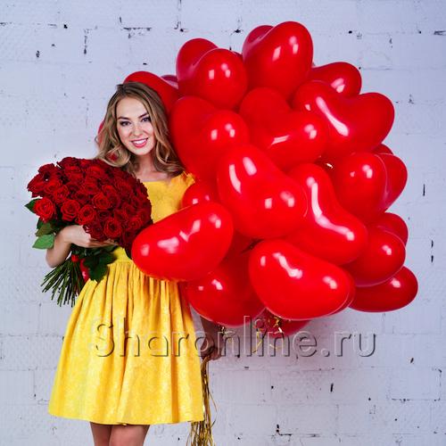 """Фото №1: Набор """"Сердечки + букет красных роз"""" Стандарт"""