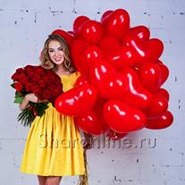 """Набор """"Сердечки + букет красных роз"""" Стандарт"""