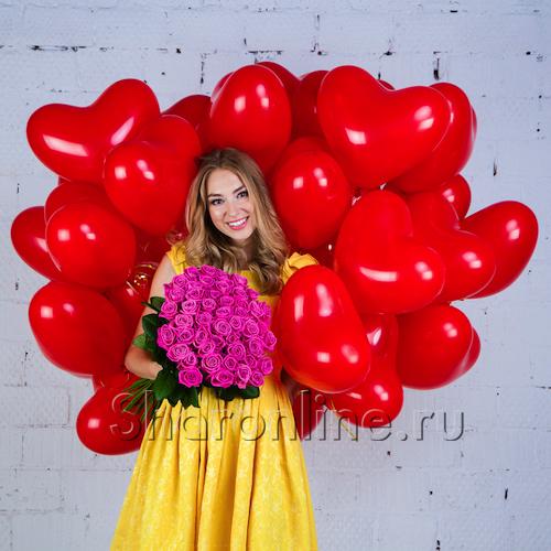 "Фото №1: Набор ""Сердечки 30 см + букет розовых роз"" Стандарт"