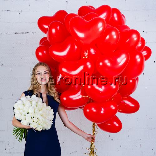 "Фото №1: Набор ""Сердечки 30 см + букет белых роз"" Премиум"