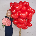 "Фото №1: Набор ""Сердечки 30 см + букет розовых роз"" Премиум"