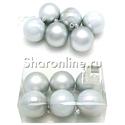 Фото №1: Набор серебряных ёлочных игрушек 6 шт 6 см