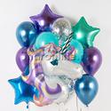 """Фото №1: Воздушные шары с доставкой в наборе """"Фиолетовый Единорог"""""""