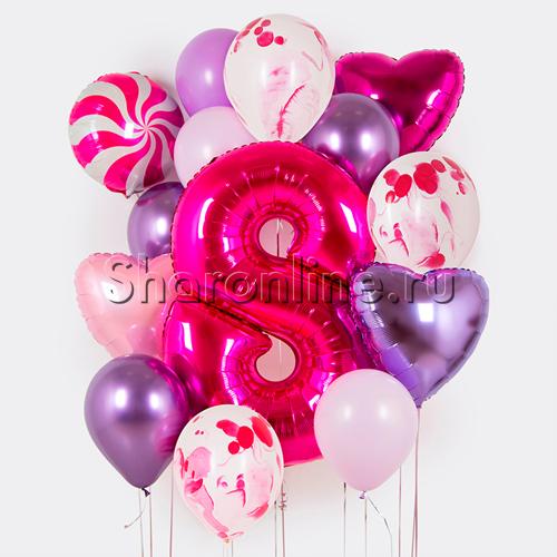 """Фото №1: Набор шаров """"Мраморный"""" с цифрой на выбор"""