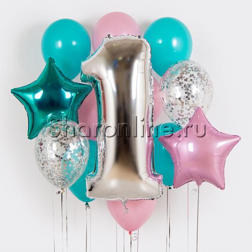 """Фото №1: Набор шаров """"На День Рождения бирюзовый"""" с цифрой на выбор"""