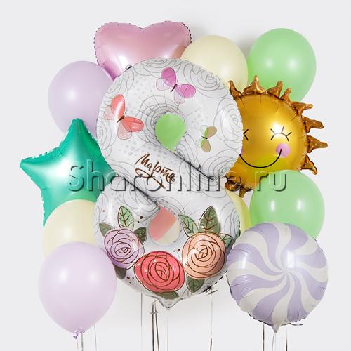 """Фото №1: Набор шаров """"Поздравление с 8 Марта"""""""