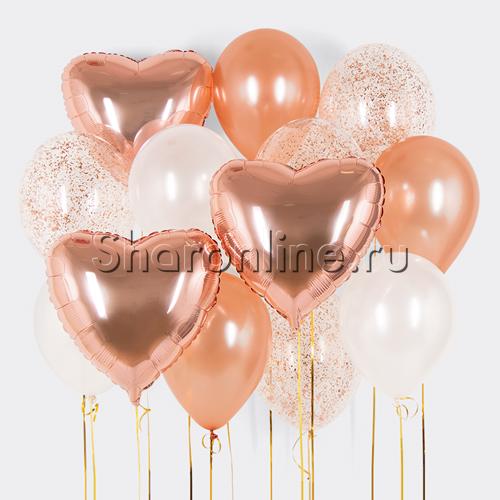 """Фото №1: Набор шаров """"Розовое золото"""""""