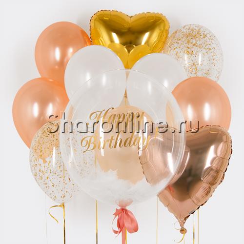 """Фото №1: Набор шаров """"Розовое золото"""" с надписью"""