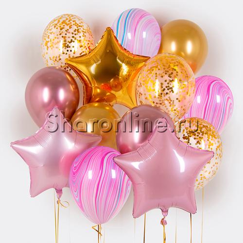 """Фото №1: Набор шаров """"Розовый закат"""""""