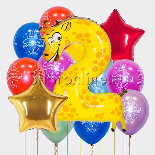 "Фото №1: Набор шаров ""Яркая Дата"" с цифрой на выбор"