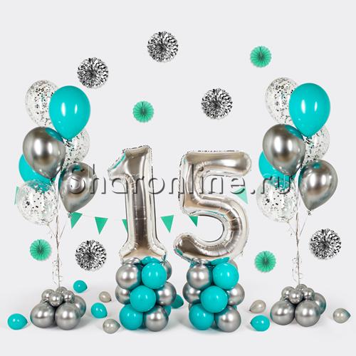 """Фото №1: Набор шаров """"Юбилей"""" с серебряными цифрами"""