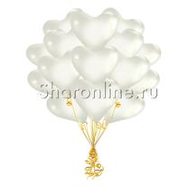 Облако белых шариков сердечек