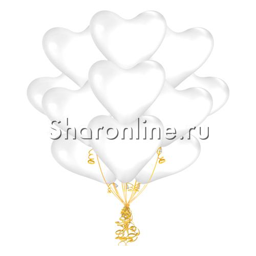 Фото №2: Облако белых шариков сердечек 30 см