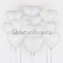 Фото №3: Облако белых шариков сердечек 30 см