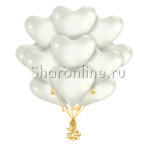 Фото №1: Облако белых шариков сердечек 30 см