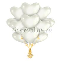 Облако белых шариков сердечек Премиум
