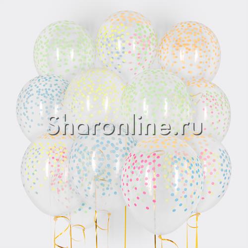 """Фото №1: Облако Прозрачных шариков """"Разноцветное конфетти"""""""