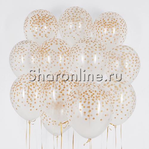 """Фото №1: Облако Прозрачных шариков """"Золотое конфетти"""""""