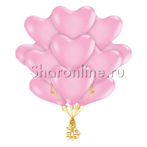 Фото №1: Облако розовых шариков сердечек 30 см
