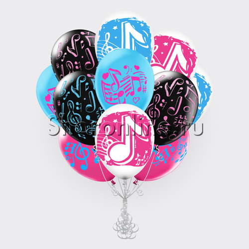 """Фото №1: Облако шариков """"Музыкальные ноты"""""""