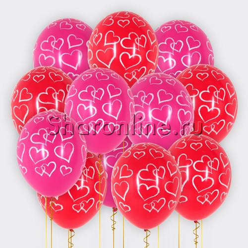 """Фото №1: Облако шариков """"Набросок сердец"""""""