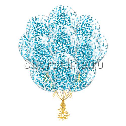 Фото №2: Облако шариков с круглым голубым конфетти