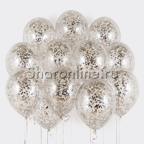 Фото №1: Облако шаров с серебряным конфетти