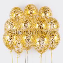Облако шариков с круглым золотым конфетти