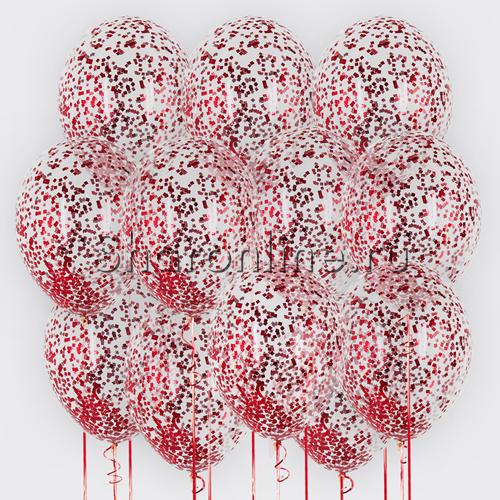 Фото №2: Облако из шариков с красным конфетти