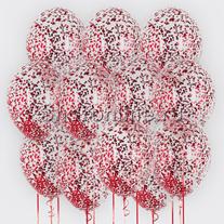 Облако шариков с квадратным красным конфетти