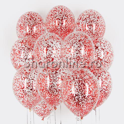 Фото №1: Облако из шариков с красным конфетти
