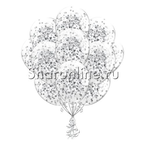 Фото №1: Облако шариков с квадратным серебряным конфетти